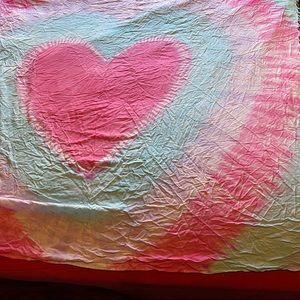 Tapestry pink blue white heart tie dye